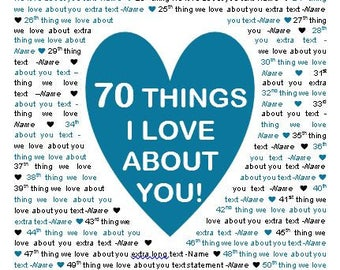 """11x17"""" Template in Microsoft Word for """"70 Things I Love About You"""" Editable and Printable Artwork"""