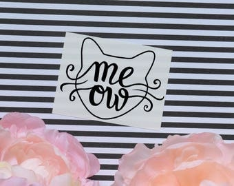 Meow Cat Vinyl Decal, Sparkly Car Laptop Decal, Cat Wiskers Decal, Cat Decal, Meow Decal, Kitty Cat Decal, Cat Head Decal