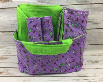 Arrows and Hearts Baby Shower Gift Basket Girl  - Baby Girl Gift Set - Purple Baby Girl - Fabric Basket - Travel Changing Pad - Arrows Theme