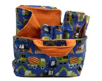 Boy Baby Shower Gift Basket Set - Construction Baby Shower Gift Set - Fabric Basket - Changing Pad - Baby Blanket - Burp Cloths