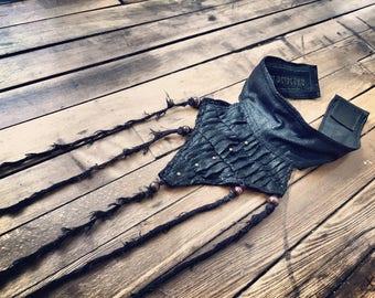 Neck corset, black neck corset, collar, steampunk, post apocalyptic, postapocalyptic clothes , burning man clothes , neck piece