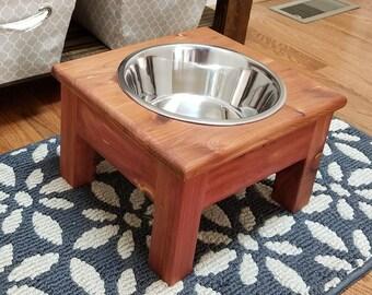 Small Elevated Dog Bowl, Cedar, Elevated Pet Feeder, 1 Bowl Feeder, One Bowl Dog Feeder,Personalized Dog Feeder,Pet Feeder,Raised Dog Feeder