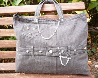 Black denim bag gray Pinstripe unbleached