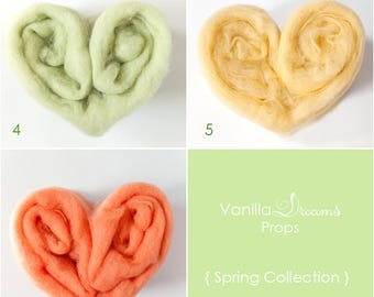 Spring Collection. Newborn wool fluff, soft baby fluff blankets, basket stuffer. Newborn Photography props