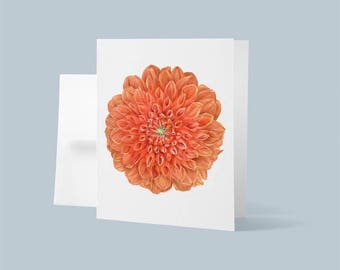 Note Card with Envelope, Blank Card, Dahlia Watercolor Painting, Botanical Art, Flower Painting
