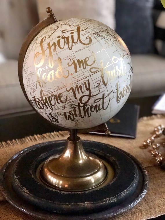 Custom Calligraphy Globe / White and Gold Calligraphy Globe w/ink choice  / Custom Wording/Ink Color - Wedding Guest Book Globe/ Nursery