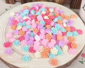 10 cabochon resin rose beads 10 mm