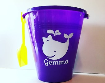Personalized Beach Pail, party favor, centerpiece, beach toy, gift bag, container