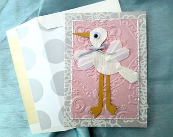 3D stork card, 3D luxury baby card, couture baby card, gender neutral baby card, boy baby card, girl baby card, baby shower card, Kamelhair