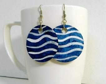Blue with White Wavy Stripe Round Handmade Paper Earrings