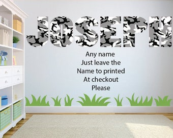 Camouflage wall art sticker ANY NAME Childrens Bedroom Wall Decal.