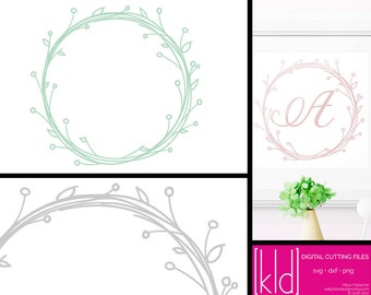 Floral Wreath svg - Wreath svg - Flower Wreath svg - Border svg - Frame svg - Monogram Border svg