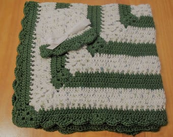 NEW Handmade Crochet Baby Blanket and Hat/Beanie Set - Green & White Speckled Striped - A Wonderful Baby Shower Gift!! - SEE NOTE!