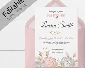 Baptism Invitation Girl, Editable PDF, Girl Invitation pink grey watercolor, gold, Baptism Invite, No Photo Needed, Invitation Template
