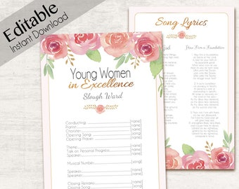 YW in Excellence Program, Editable Program Young Women LDS Program, Instant Download,  YW in Excellence editable program