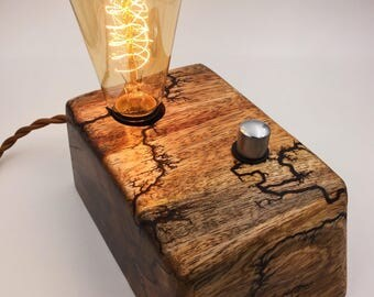 Live Edge Spalted Mango Wood Block Desk Lamp. Edison Bulb and Telecaster style knob. Lichtenberg Figure.