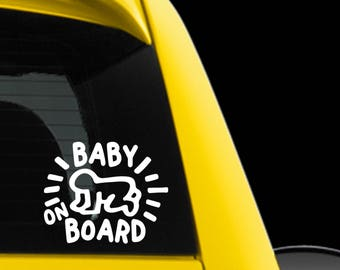 Baby On Board-Car Window Vinyl Decal Sticker - Keith Haring Baby