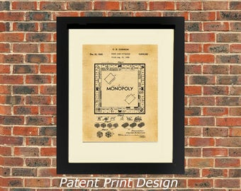 US Patent, MONOPOLY 1935 A4 Poster Art Print/  Vintage / or Colour.      Cream Mount Included
