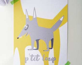 """Illustration """"P"""" puddin """"of 15x20cm with a gray wolf"""