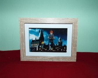 Ron Weasley Custom  mini figure in a frame. Harry Potter Great Wall Decor