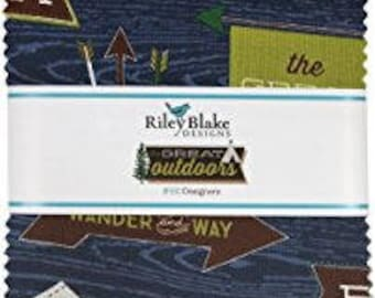 Great Outdoors 5 Inch Square Pack, Riley Blake Designs, Camping Fabric, Winter Fabric, Pre Cut Fabric