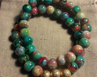 Womens Green Gold bracelet set