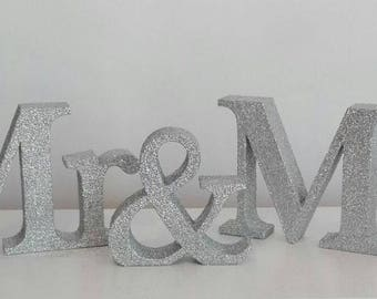 Mr & Mrs Wedding Table Glitter Sign Surname Free standing letters Centrepiece
