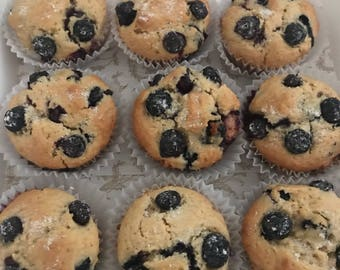 BLUEBERRY MUFFINS - Sugar-Free OR Sugar-Added - Office Party, Holiday Gift, Breakfast or Brunch
