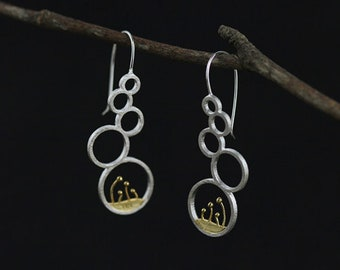 Silver Seaweed With Bubbles Earrings