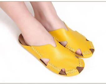 Beach Slides Ladies Shoes , Women Summer Shoes ,Women Sandals 100% Authentic Leather