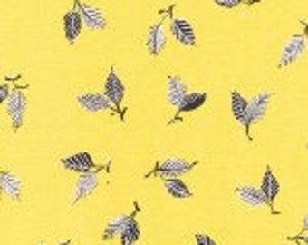 Michael Miller 100% Cotton Quilting Fabric Lime Tree Leaves in citrus yellow