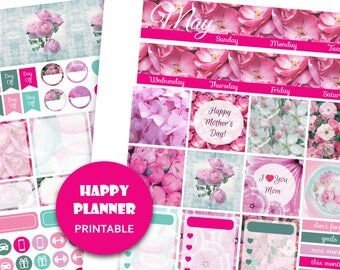 HAPPY PLANNER MONTHLY Stickers May monthly view kit Mothers Day Spring planner stickers Happy Planner flower Monthly set May floral planner