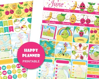 MONTHLY VIEW KIT for June Happy Planner pdf June stickers kit June planner kit Monthly stickers Travel planner stickers Cut files