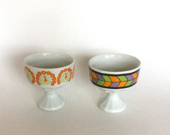 Pair of Footed Mod Ice Cream or Dessert Cups/Bowls- Made in Japan