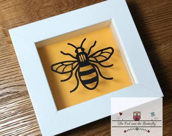 Manchester Bee framed papercut - profits being donated