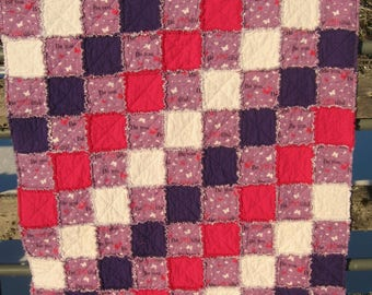 Purple, Pink, and White Inspirational Flannel Rag Quilt