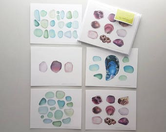5pk Seaglass A6 Blank Notecards Greeting Sympathy Thank you Anniversary Gift Postcards Colored Pencil Art Cards by Headspace Illustrations