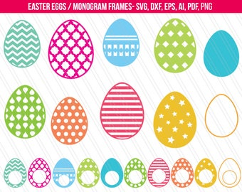 Easter svg, Easter eggs SVG, Easter monogram svg, Easter eggs vector clipart, Cricut silhouette, Screen printing- SVG, dxf, ai, eps,pdf,png