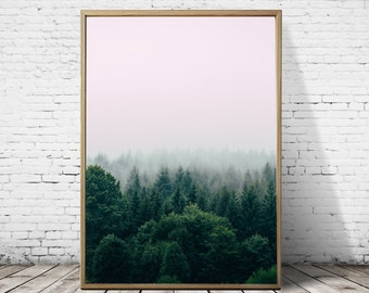 Forest wall Art, Forest Print, Tree Print, pink print, Forest Wilderness, Fog Forest, Nature Wall Art, Scandinavian decor, foggy mountain