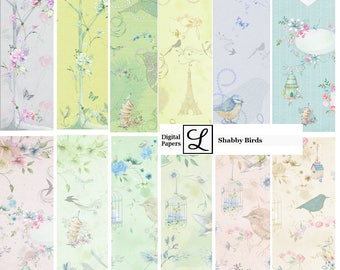 SALE 50% OFF - Shabby Birds, gorgeous digi (digital) papers for scrapbooking and card making  - instant download in PDF format.