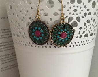 Ethnic gold dangle earrings