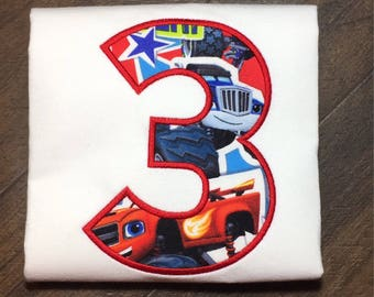 Blaze and the Monster Machines Birthday Shirt, 3rd Birthday Shirt for Boys, Blaze Birthday Shirt, Blaze and the Monster Machines Party,