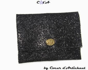 Evening bag with glitter black/Christmas gift