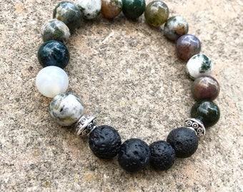 Lava Bead Essential Oil Diffusing Bracelet, Rainbow Jasper Bracelet, Aromatherapy Bracelet, Root Chakra Bracelet