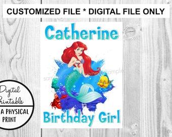 The Little Mermaid Birthday Printable Iron On Transfer - DIY shirt tshirt -  Disney Princess Ariel printable - Customized Birthday Girl