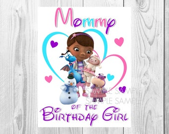 Doc McStuffins Birthday Iron On Shirt Transfer - Disney tshirt or clip art printable - Instant Download - Mom Mommy of the Birthday Girl