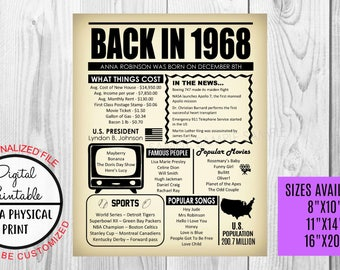 50th Birthday Poster Sign, Back in 1968 Newspaper Style Poster, Printable, 1968 Facts, 50 years ago sign, Anniversary Gift, Customized