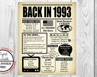 1993 The Year You Were Born, 25th Birthday Poster Sign, Back in 1993 Newspaper Style Poster, Printable, 1993 Facts, 25 years ago