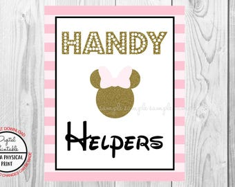 "Handy Helpers Sign, Minnie Mouse Birthday Party Sign, 8""x10"" Printable, Instant Download, Gold & Pink Sign"