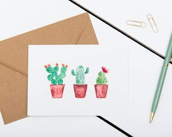 Cactus Cards - Three Cacti In A Row // 1 pack / 5 pack / 10 pack // A6 Charity Greetings Card // Blank Cactus Watercolour Cards